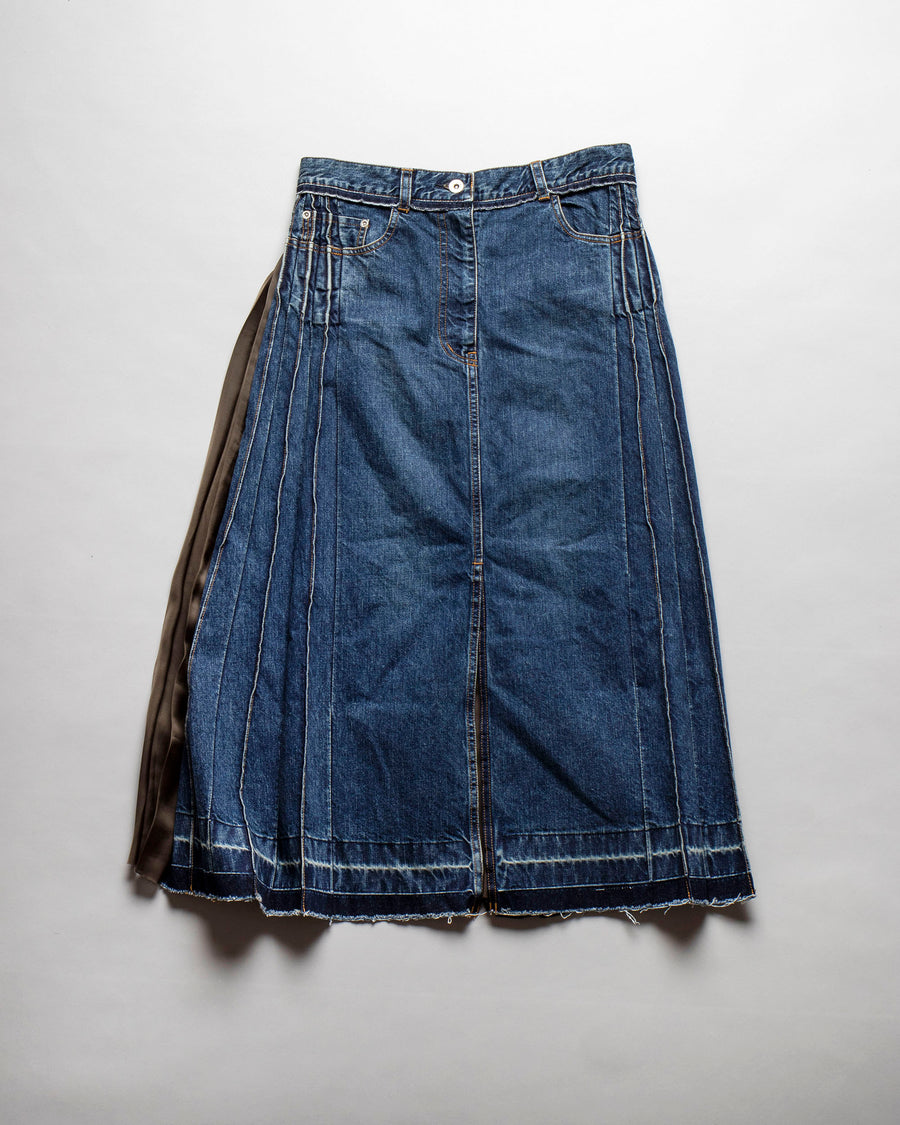 denim mix pleated skirt