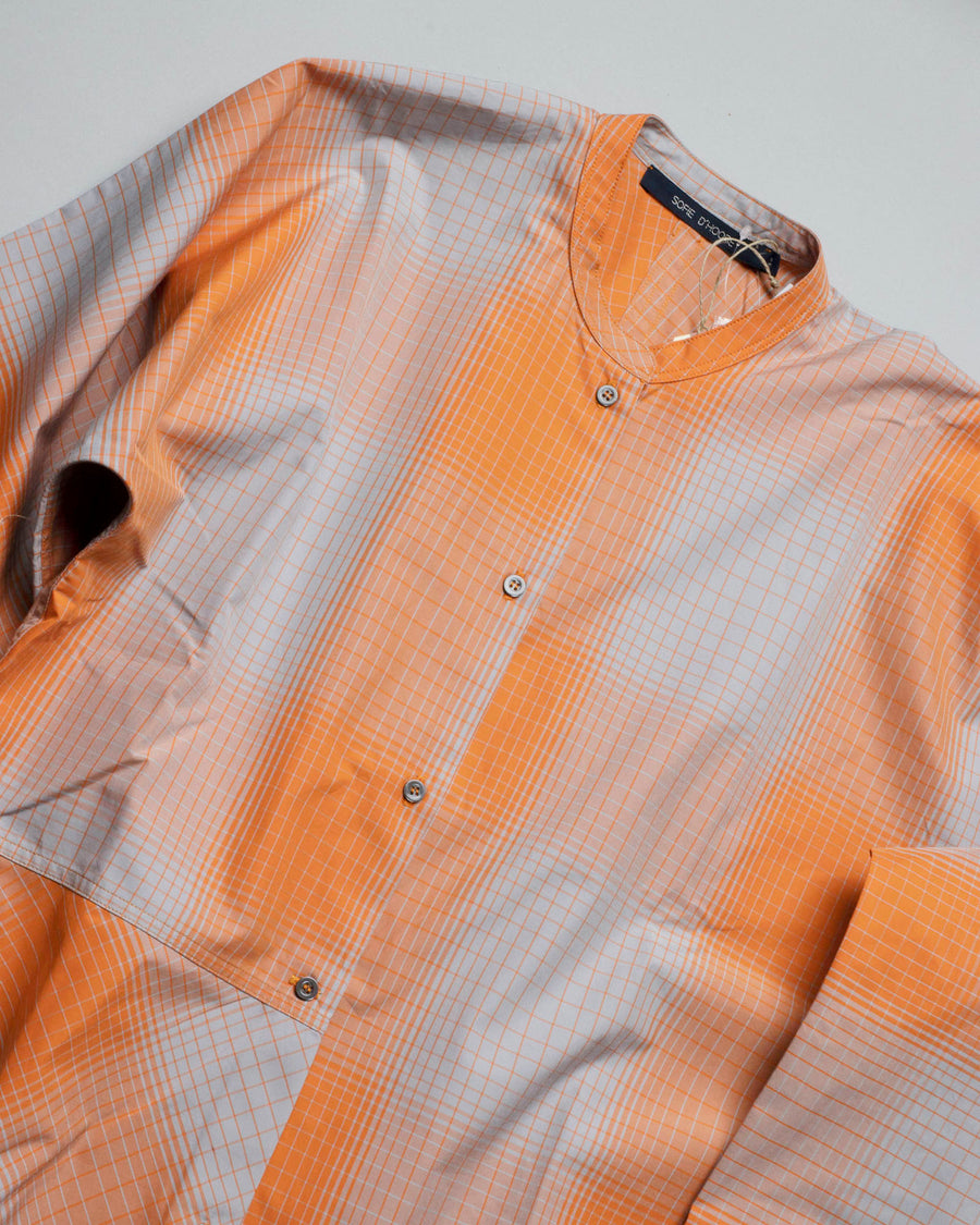 SOFIE, D'HOORE, DAPHNIC, SHIRT, DRESS, SHIRTDRESS, ORANGE, GREY, PLAID_PUMPKIN, COTTON, OPTIC, ORANGE,