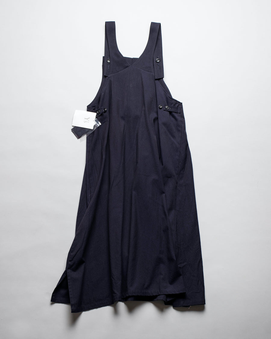 Y'S, YS, YOHJI, YAMAMOTO, DRESS, YR-D14-006, YRD14006, SLEEVELESS, RANDOM, TUCK PLEATED, COTTON, VISCOSE, RAYON, YARN, DYED, TWILL, NAVY,