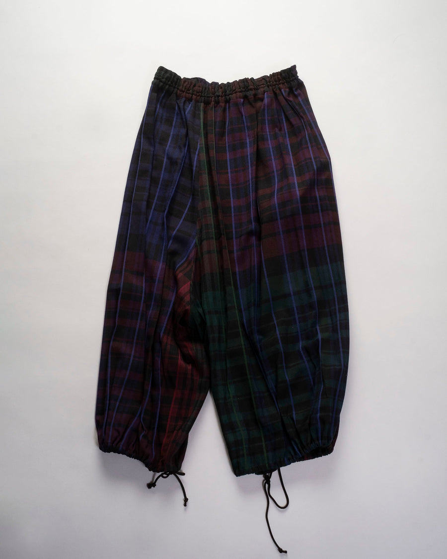 y's, yohji, yamamoto, women's, pants, crop, drawstring, gathered, plaid, rayon, wool, harem, drop, crotch, black, parachute,