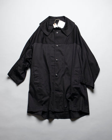 Y'S, YS, YR-C81-002, YRC81002, YOHJI,YAMAMOTO, COAT, U, DESIGN, SLEEVE, COTTON, TWILL, DOLMAN, YOKE, OVERSIZED, COLLAR, BLACK,