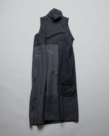 Y'S, YS, YOHJI, YAMAMOTO, DRESS, YR-D10-805, YRD10805, 0-PANEL, PIECED, O, PANEL, SLEEVELESS, TURTLENECK, T-NECK, LINEN, WOOL, ASYMMETRIC, NAVY,