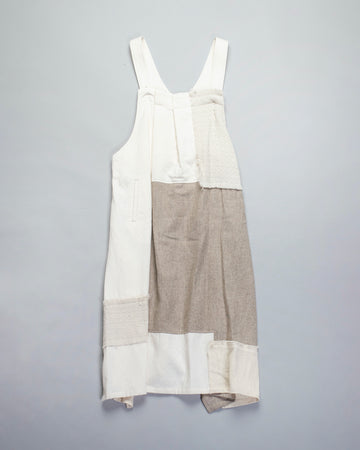 Y'S, YS, YOHJI, YAMAMOTO, DRESS, YR-D14-801, YRD14801, SLEEVELESS, RANDOM, TUCK, PLEATED, COTTON, WOOL, MIXED, MEDIA, FABRIC, MIX, APRON, OVERALL, BEIGE, CREAM, OFF, WHITE,