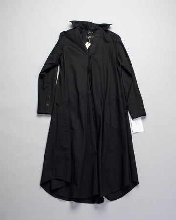 Y'S, YS, YOHJI, YAMAMOTO, DRESS, YR-D80-002, YRD80002, O-OUT, O_OUT_P, SHIRT, COAT, SHIRTDRESS, SHIRT, POCKET, PATCH, BUTTON, FRONT, COTTON, TWILL, BLACK,