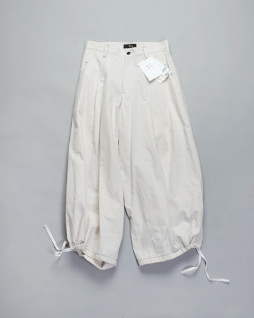 Y'S, YS, YOHJI, YAMAMOTO, PANTS, YR-P02-009, YRP02009_, U-B, U, B, TUCK, P, COTTON, TWILL, TOP, STITCHED, BALLOON, WIDE, LEG, DRAWSTRING, PLEAT, PLEATED, CROP, ANKLE, CREAM, ECRU, OFF, WHITE,