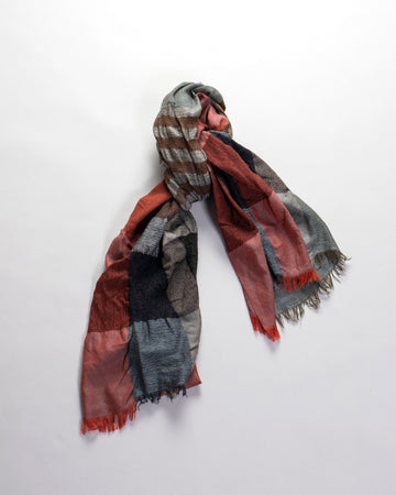 y's, yohji, yamamoto, women's, GAUZE, SHAWL, SCARF, MILLING, PLAID, STRIPE, GAUZE, STOLE, WOOL, ACRYLIC, GAUZE, SQUARES, FRINGE, NAVY, GREY, GRAY, BLACK, BROWN, RED,