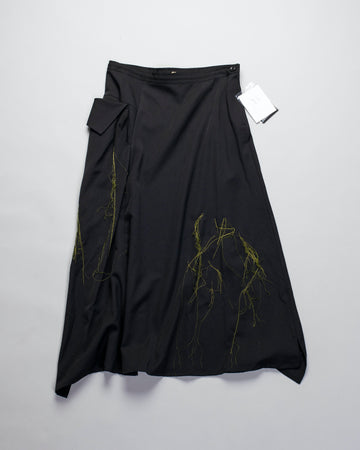 Y'S, YS, YOHJI, YAMAMOTO, SKIRT, YR-S05-100, YRS05100, O-R, OR, DRAPE, POCKETS, MIDI, MID, CALF, KNEE, LENGTH, WOOL, ASYMMETRIC, BLACK, GREEN, THREAD, EMBROIDERED, WOMEN'S, WOMENS,