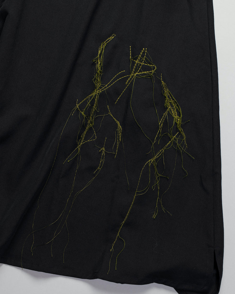 Y'S, YS, YOHJI, YAMAMOTO, SKIRT, YR-S05-100, YRS05100, O-R, OR, DRAPE, POCKETS, MIDI, MID, CALF, KNEE, LENGTH, WOOL, ASYMMETRIC, BLACK, GREEN, THREAD, EMBROIDERED, WOMEN'S, WOMENS,Y'S, YS, YOHJI, YAMAMOTO, SKIRT, YR-S05-100, YRS05100, O-R, OR, DRAPE, POCKETS, MIDI, MID, CALF, KNEE, LENGTH, WOOL, ASYMMETRIC, BLACK, GREEN, THREAD, EMBROIDERED, WOMEN'S, WOMENS,