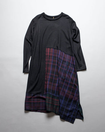 Y'S, YS, YOHJI, YAMAMOTO, YRD09806, YR-D09-806, DRESS, O-PANEL, LONG, SLEEVE, PLAID, CHECK, WOOL, RAYON, VISCOSE, CREW, ASYMMETRIC, PANEL, PIECED, BLACK,