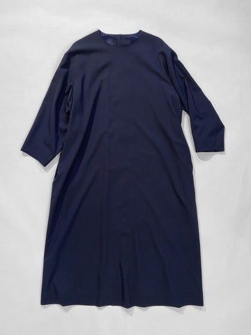 arts & science button back dress in navy women's wool noodle stories