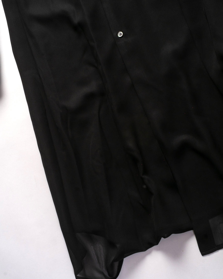 comme des garcons fabric mix tunic in black cotton poly polyester GF-B009 noodle stories