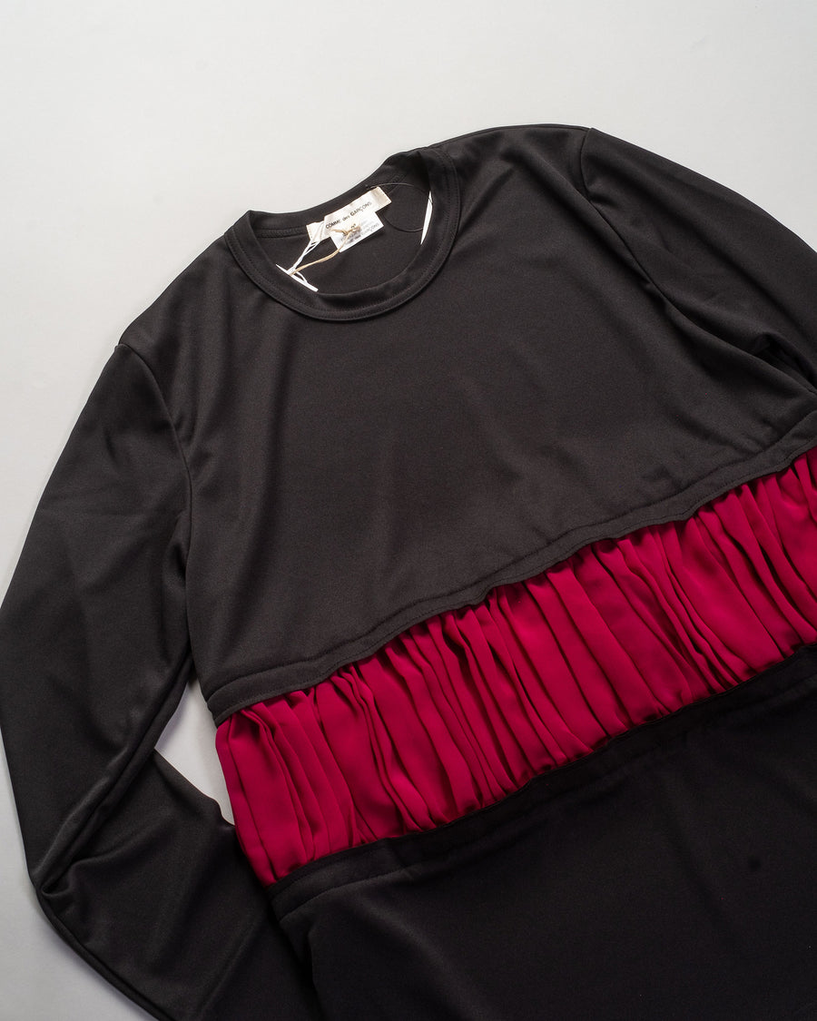 comme des garcons women's pleated inset tee in black burgundy jersey georgette t-shirt top GF-T010 noodle stories