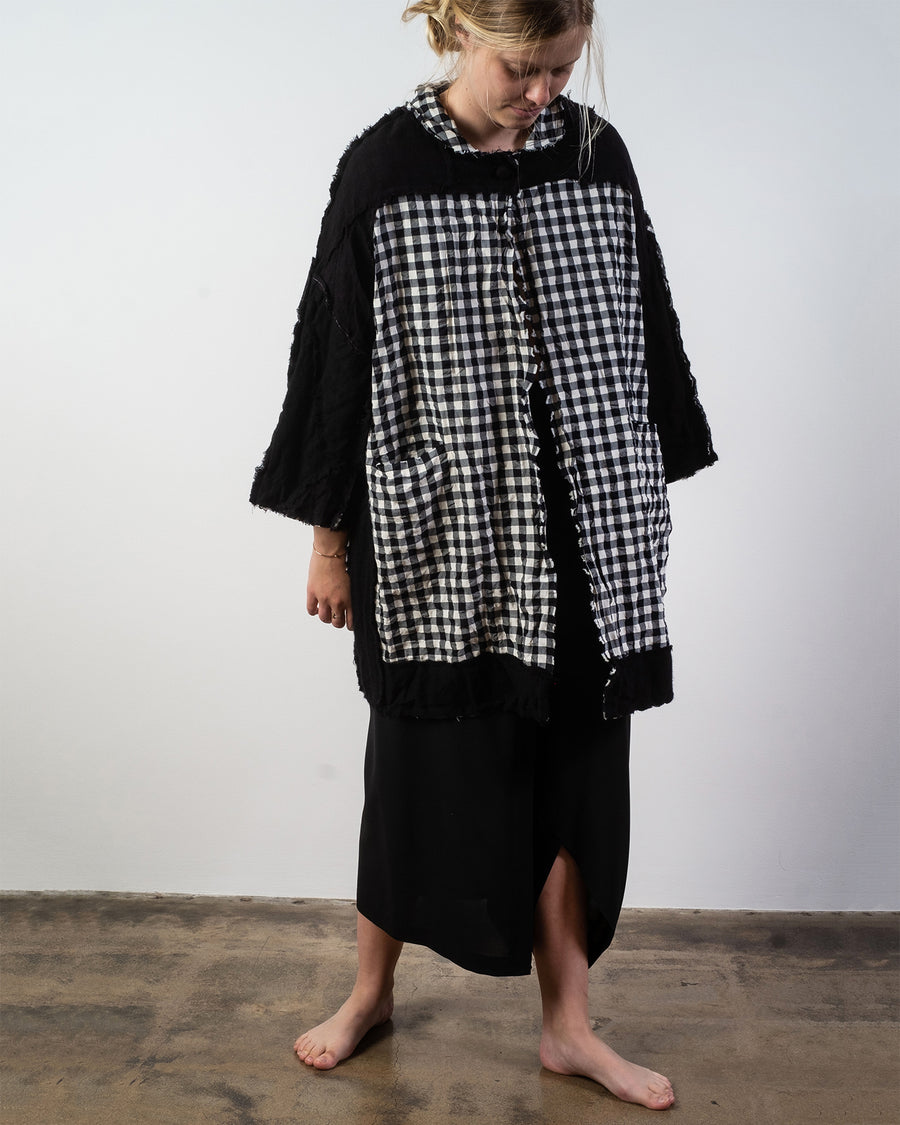 reversible pieced check coat