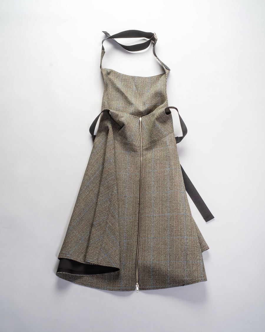 junya watanabe tweed check apron dress in brown khaki blue check wool noodle stories