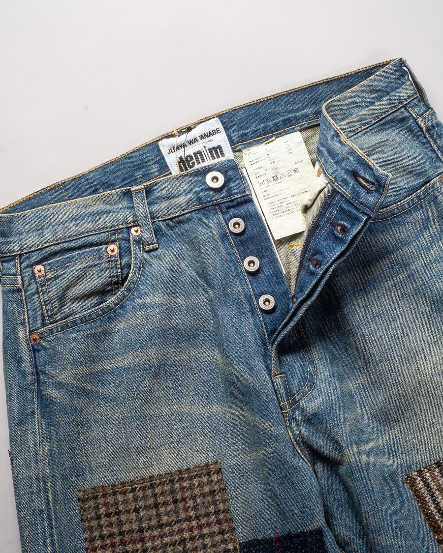 junya watanable garment treated patchwork fabric remnant selvedge jeans in indigo noodle stories