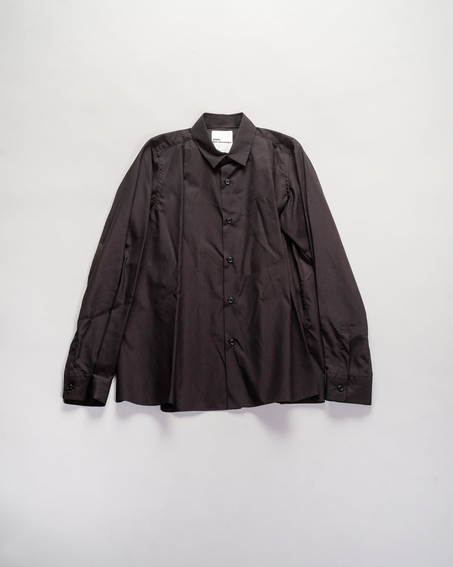 noir - kei ninomiya release pleat shirt in black 3F-B0005-BLK cotton broadcloth pleated tuck blouse collar noodle stories