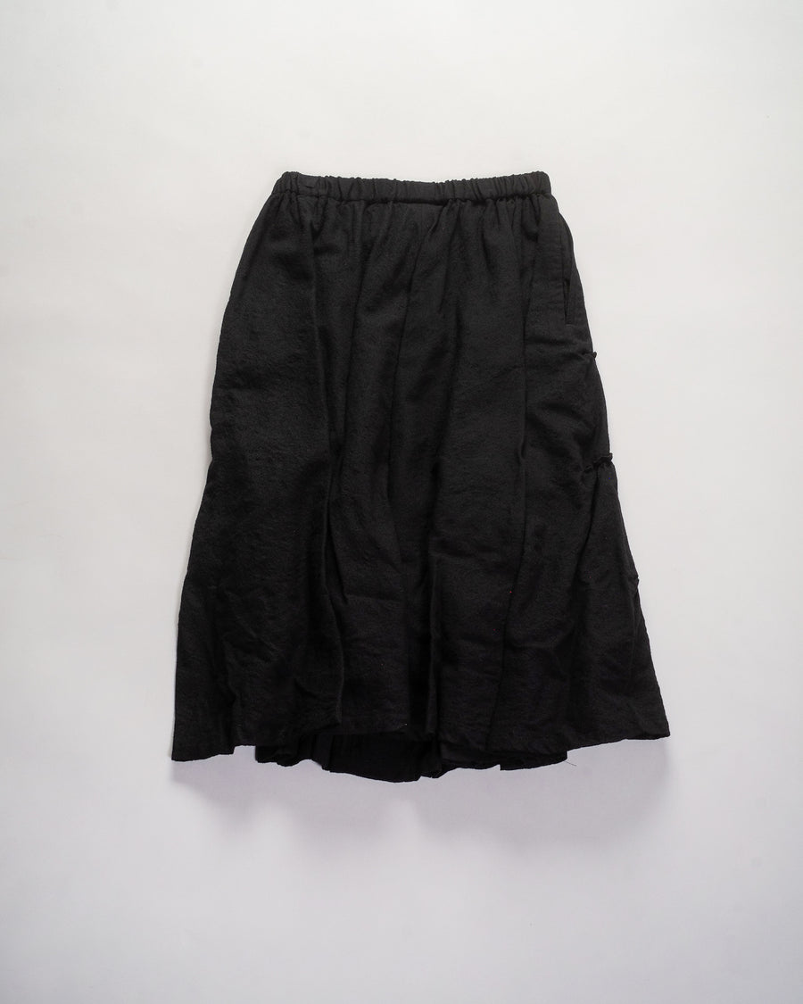 noir - kei ninomiya tiered front skirt in black wool gauze women's 3F-S003 noodle stories