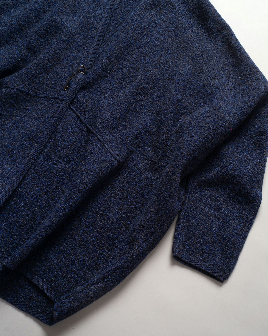 oyuna cashmere boucle knit cardigan in dark blue rain | noodle stories