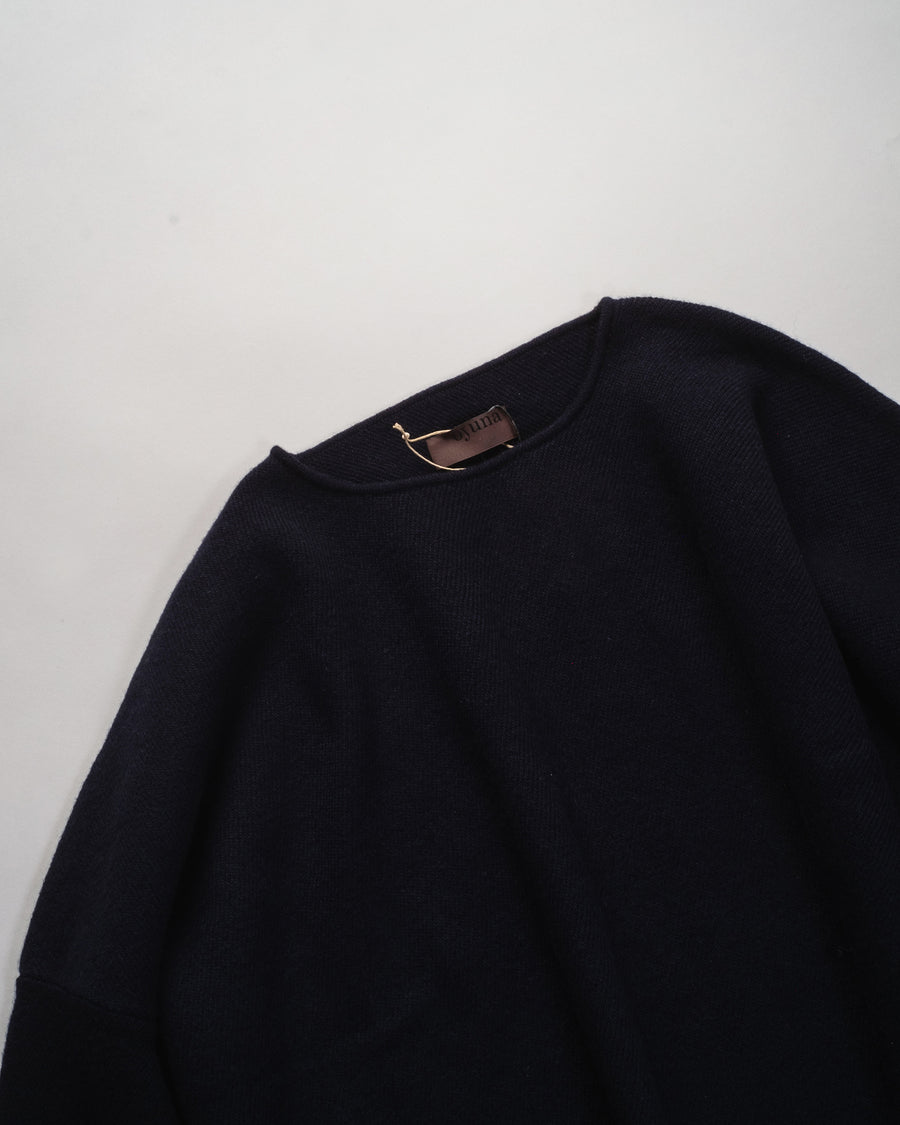 oyuna diagonal knit boxy pullover in navy | noodle stories