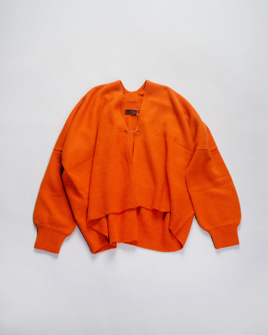oyuna women's boxy cashmere cardigan in orange flame noodle stories