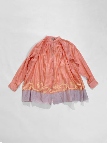 gathered silk shirt