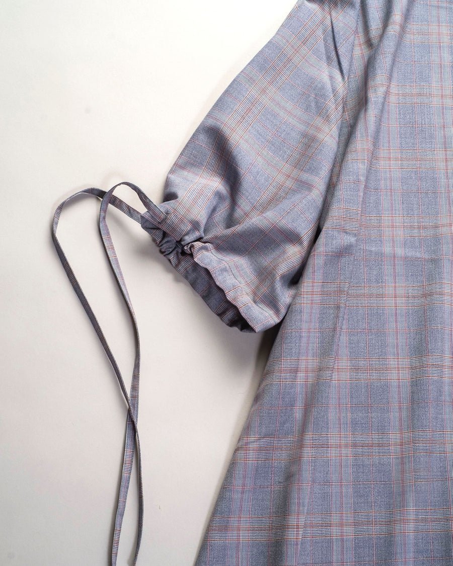 sofie, d'hoore, degas, dress, blue, red, plaid, drawstring, tie, noodle stories, women's, women