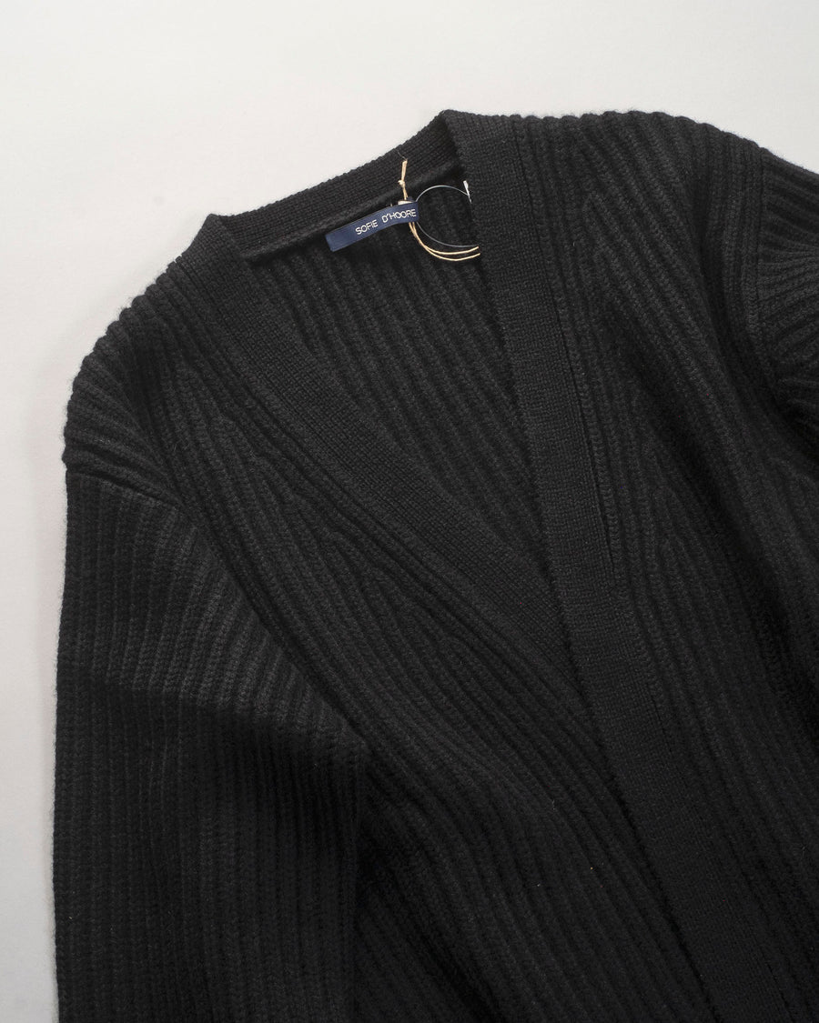 sofie, d'hoore, sweater, cardigan, noodle stories, women, women's, manet, cashmere, v-neck, v, neck, black, rib, stitch, open, front,