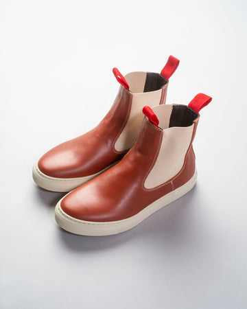 sofie, d'hoore, shoes, noodle stories, women, women's, faro, brown, cognac, terra-cotta, cream, red, elastic, pull, tab, boots, sneaker, chelsea, nappa, leather,