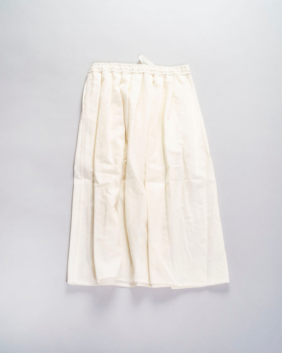 sofie, d'hoore, skirt, noodle stories, women, women's, pleated, gathered, drawstring, elasticated, midi, white, off-white, ecru, cream, wool,