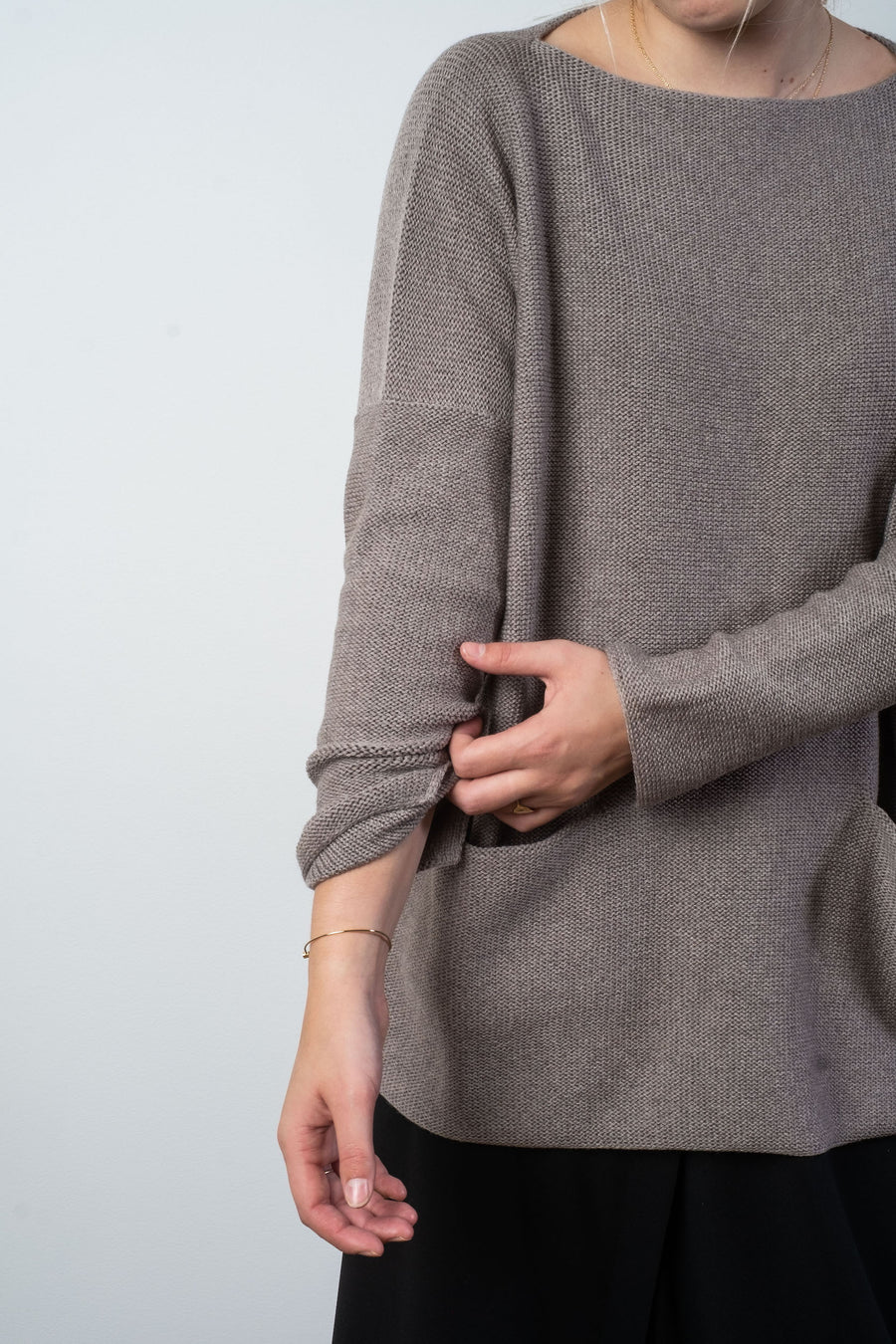 wool boatneck pocket sweater