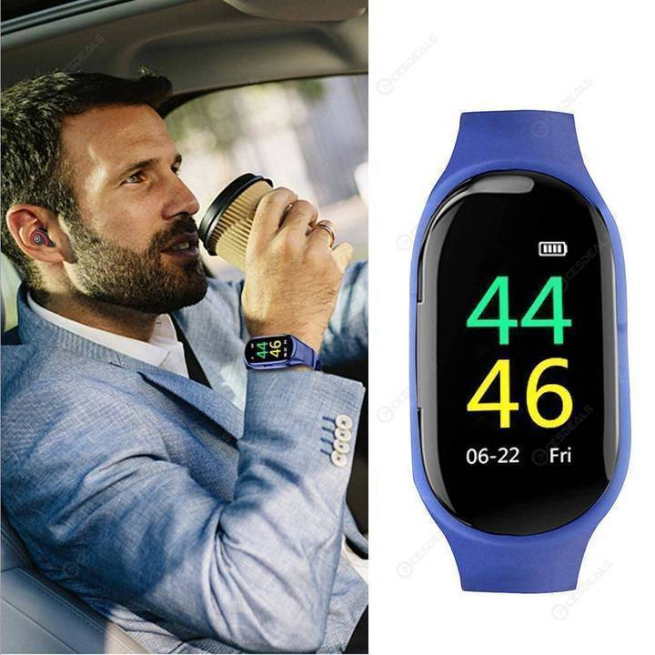 2 In 1 Smart Watch with Bluetooth Earphone - AI Heart Rate Monitor Smart Wristband Long Time Standby Sport Watch