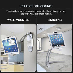 Desktop & Wall Pull-Up Lazy Bracket - Kitchen Tablet Metal Stand Mount Fit For 5-10.5 inch Width Smartphones - 5econds.co