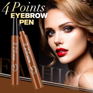 4 Points Eyebrow Pen - 5 Colors Waterproof Natural Dark Brown Fork Tip Tattoo Pencil Cosmetic Long Lasting - 5econds.co