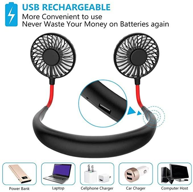 Portable Hanging Neck Sports Fan - Mini USB Portable Neckband With Rechargeable Battery Small Air Cooler Conditioner - 5econds.co