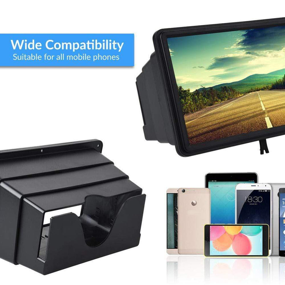 CJSWT Screen Magnifier 3D Smart Mobile Phone Movies Amplifier,Portable Adjustable 3D Mobile Phone Enlarger Screen Foldable Stand Holder with Stable Clip and Visor