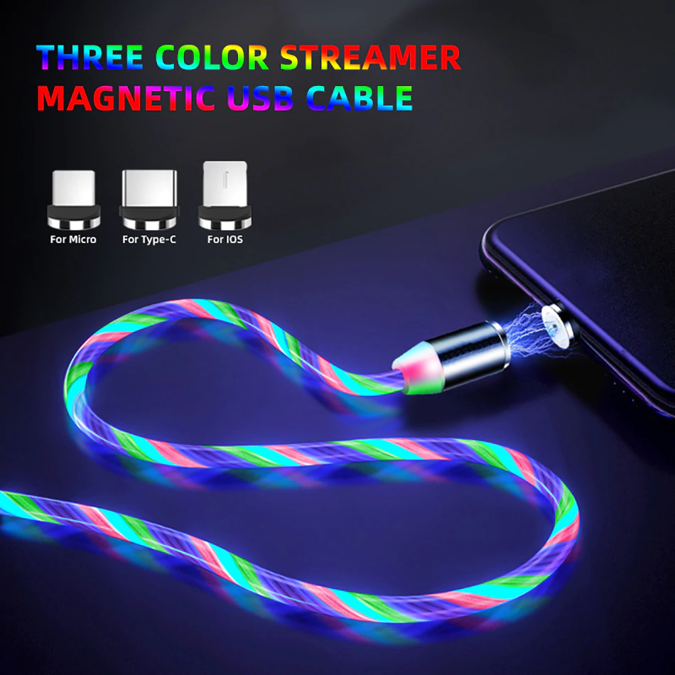 LIT™ - LED Magnetic Charging Cable for iPhone & Android USB Type C Cable Magnetic Cable LED Lighting fast Charging USB Micro Charger Cable Wire Huawei Samsung - 5econds.co