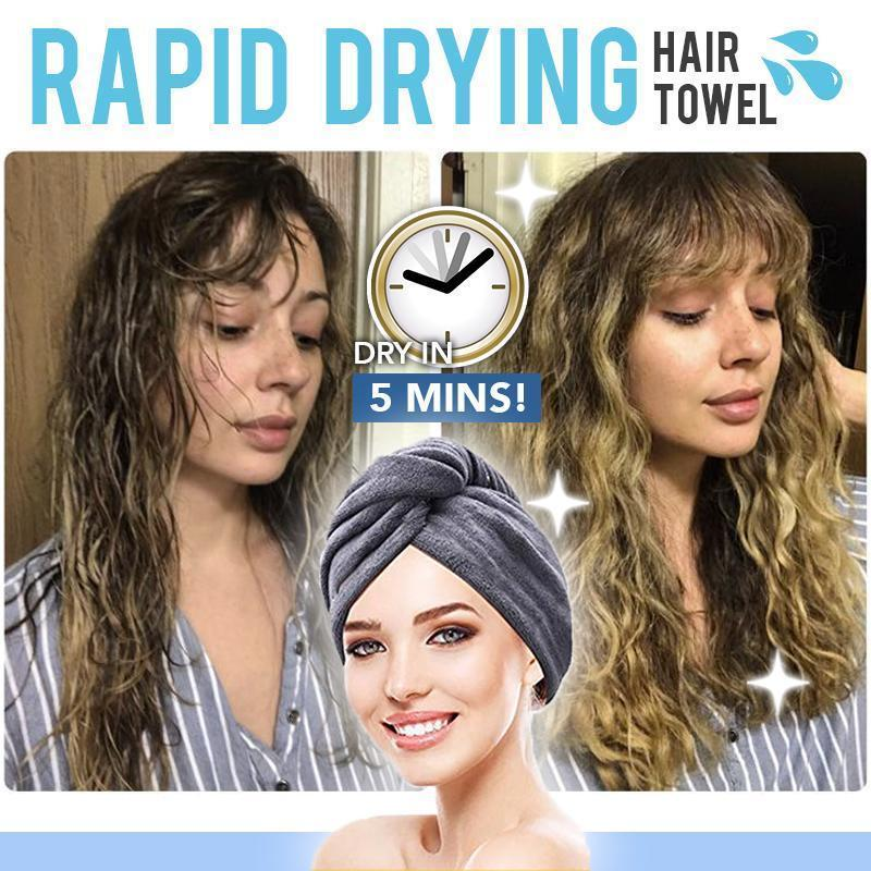 Rapid Hair Drying Microfiber Towel For Curly & All Hair Super Absorbent towel wrap with button - 5econds.co