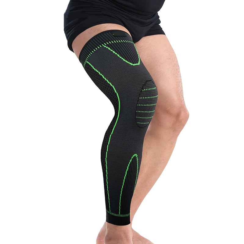 Total Compression Knee Sleeve - Elasticity Long Knee Protector Brace Leg Sleeve Calf Knee Support Warm Sports Kneepads