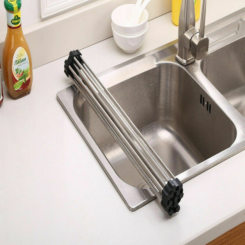 Disk drying rolling rack - Kitchen Dish Drying Rack Over Sink Roll-up Dry Drainers Stainless Steel Foldable