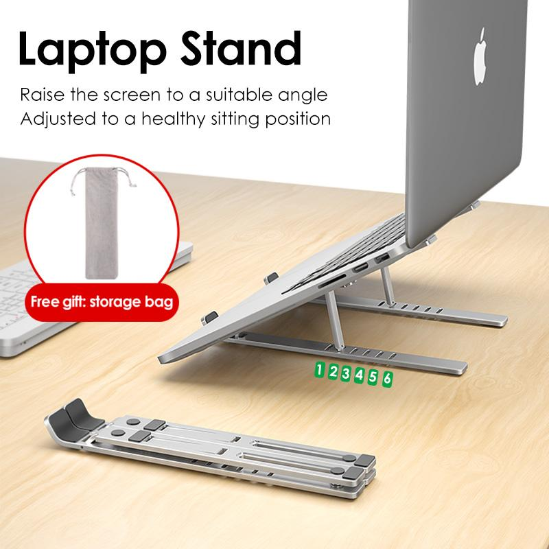 Ergonomic Laptop Stand - Adjustable Foldable Premium Aluminium Stand for upto 17 Inch Laptop - 5econds.co
