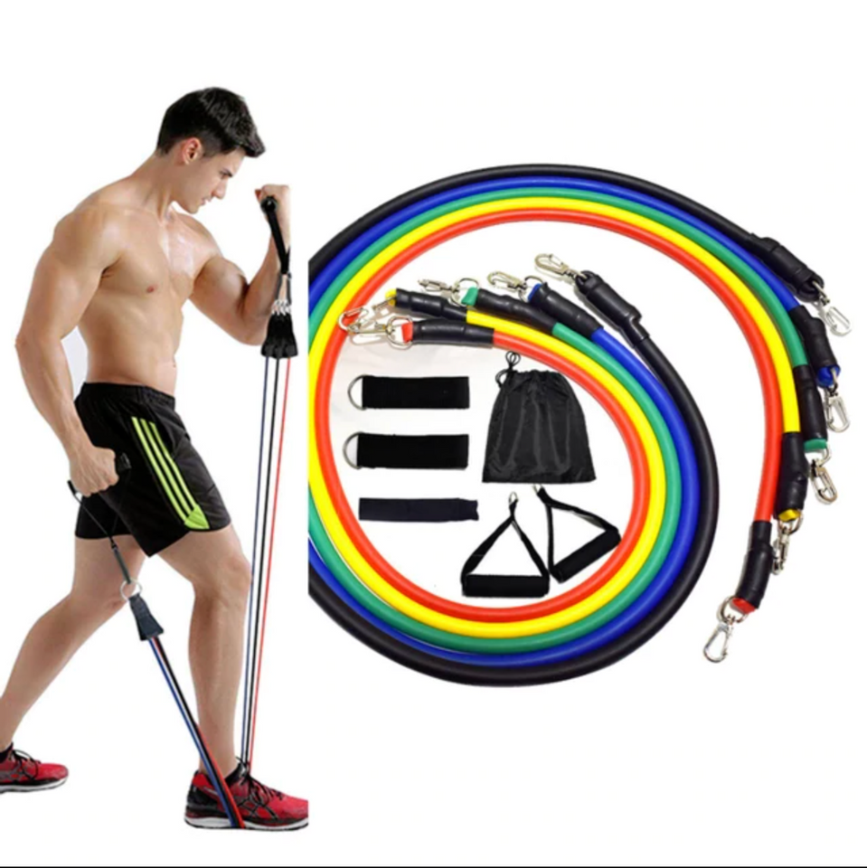 PREMIUM RESISTANCE BANDS 11 PCS SET FITNESS HOME WORKOUT GYM EXERCISE YOGA