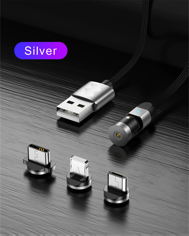 Double 360° Magnetic Cable - New Updated Fast Charging Micro USB Type C Mobile Phone Cable For Samsung iPhone 360+180 Degree Rotating - 5econds.co