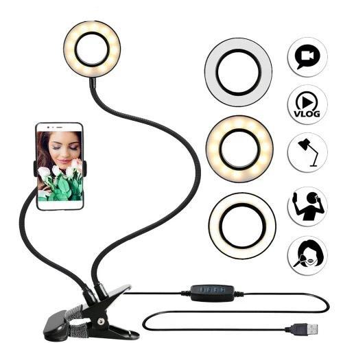 Studio LED Ring Light with Cell Phone Holder™ - Long Arms Desktop Bed stand Adjustable Aluminum alloy Mount for video call/livestream - 5econds.co