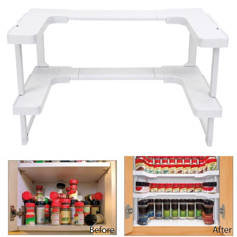 Adjustable Spice Rack - 2 Layers Kitchen Cabinet Cupboard Organizer Adjustable Kitchen Storage Shelf Spice Rack Countertop Organizer Cabinet Storage - 5econds.co