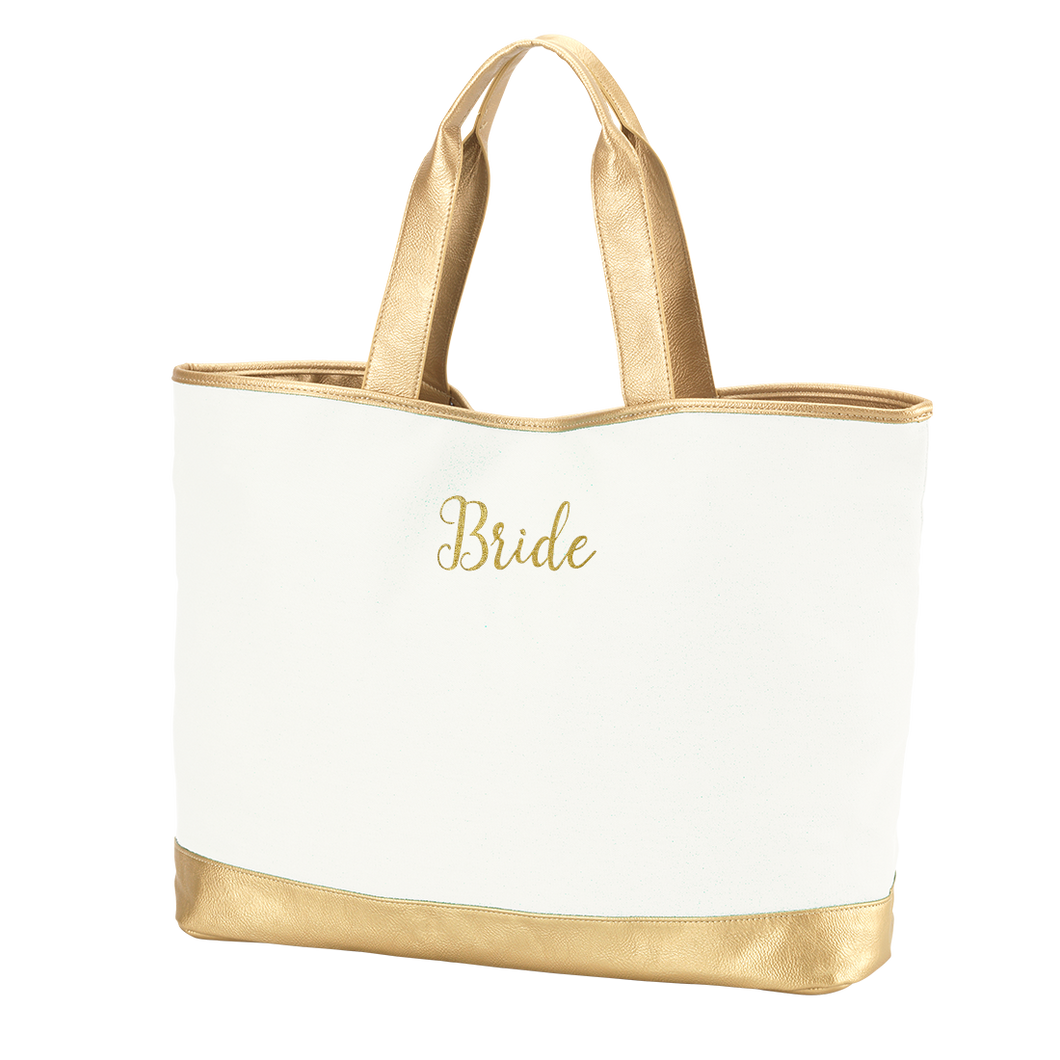 Creme Cabana Tote Gold Bride Embroidery
