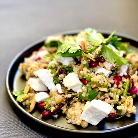 Cypriot Grain Salad with Grounded Hemp Seed GOAT Cheese - dairy free