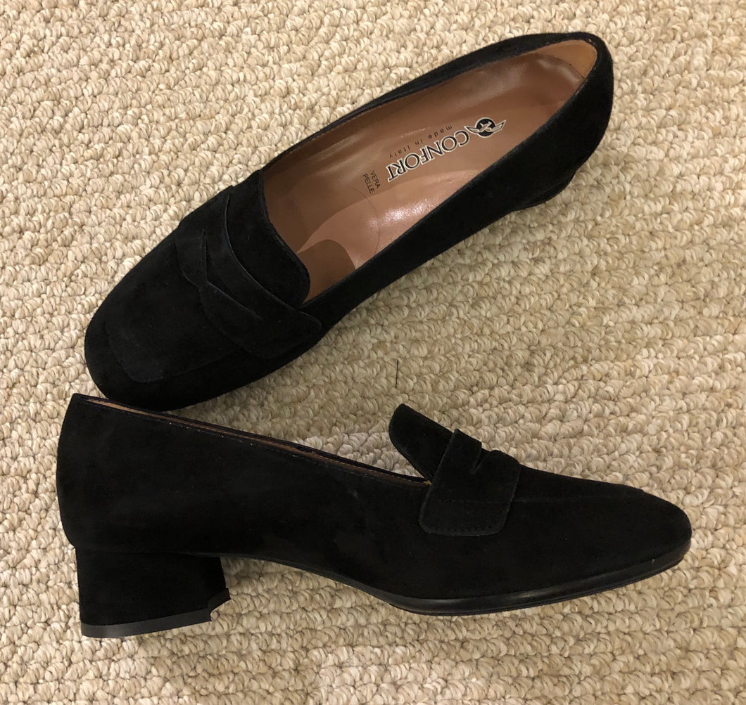 Confort Black Suede Block Heeled Loafer