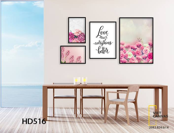 Bộ 4 Tranh Hoa Hồng Và Quotes Love Makes Everything Better - HD516