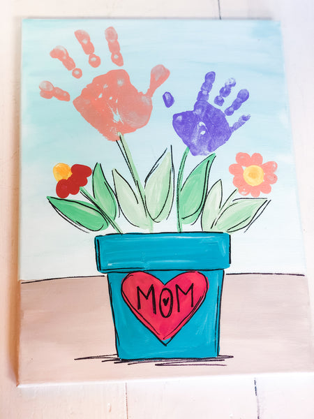I Love Mom Handprint Canvas
