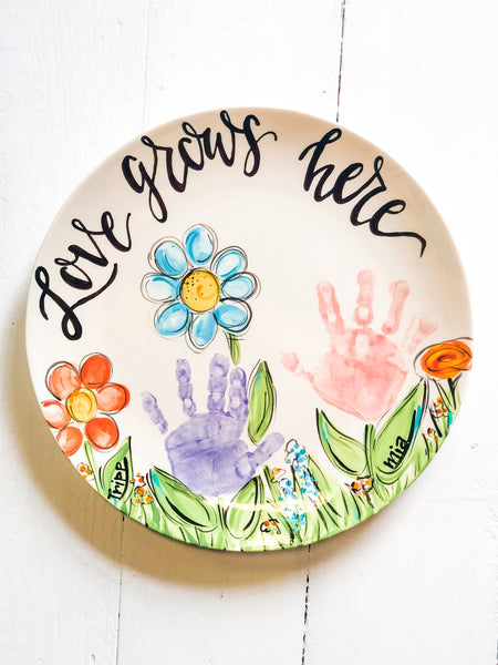Love Grows Here Custom Handprint Platter